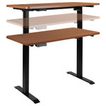 height adjustable electric desk in motion