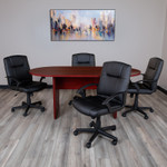 6' oval conference table with 4 black chairs