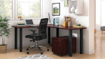 superior laminate l-desk in dark cherry