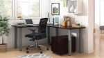 mahogany superior laminate l-desk