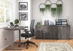 otg superior laminate ergonomic desk with cabinets in artisan grey