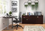 otg superior laminate ergonomic desk with cabinets in espresso