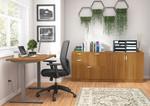 otg superior laminate ergonomic desk with cabinets in autumn walnut
