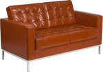 lacey cognac leather love seat