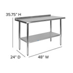 stainless steel work table with backsplash dimensions