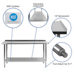 nsf certified stainless table features