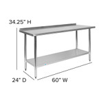 nsf certified stainless table dimensions