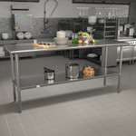 stainless table in kitchen