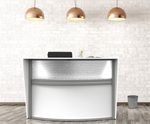 white curved front reception desk