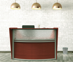 cherry curved front reception desk