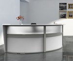 white  2 person curved reception desk side view