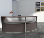 mocha  2 person curved reception desk side view