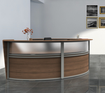 walnut  2 person curved reception desk side view
