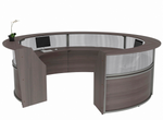 overhead inside view of curved reception desk