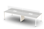 Friant Verity 4 Person Benching Layout with Glass Divider Screen