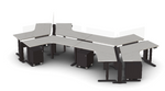 Friant My-Hite Collection 6 Person Open Concept Adjustable Workstation