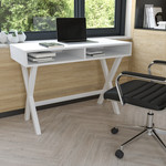 """Flash Furniture 42"""" White Home Office Computer Desk with Open Storage"""