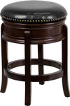 Flash Furniture Backless Cappuccino Wood Bar Stool with Black Leather Swivel Seat