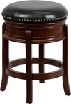Flash Furniture Backless Cherry Wood Bar Stool with Black Leather Swivel Seat