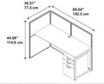 "Bush Easy Office 60"" Single User Workstation with 3 Drawer Pedestal"