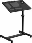 Flash Furniture Black Adjustable Height Mobile Computer Desk
