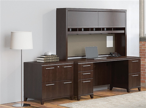 "Bush Enterprise 72"" Desk with Hutch and 2 Drawer Lateral File Cabinet"