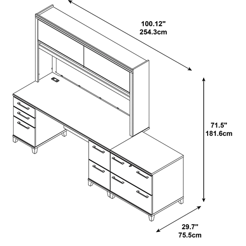 """Bush Enterprise 72"""" Desk with Hutch and 2 Drawer Lateral File Cabinet"""