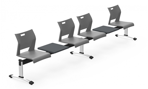 Global Duet Beam Seating Configuration with 4 Seats and 2 Tables