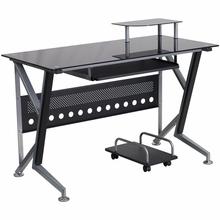 Flash Furniture Black Glass Computer Desk with Keyboard Platform and CPU Cart