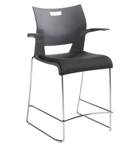 Global Duet Series 6662 Counter Height Bar Stool with Arms and Upholstered Seat