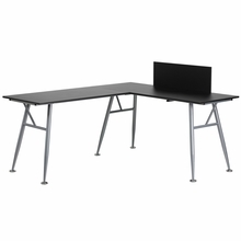 Flash Furniture Black L Shaped Computer Desk with Silver Frame
