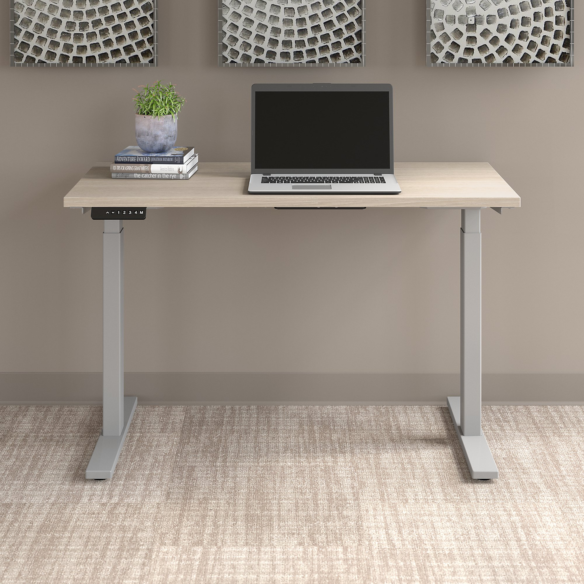 sand oak move 60 table with cool gray legs