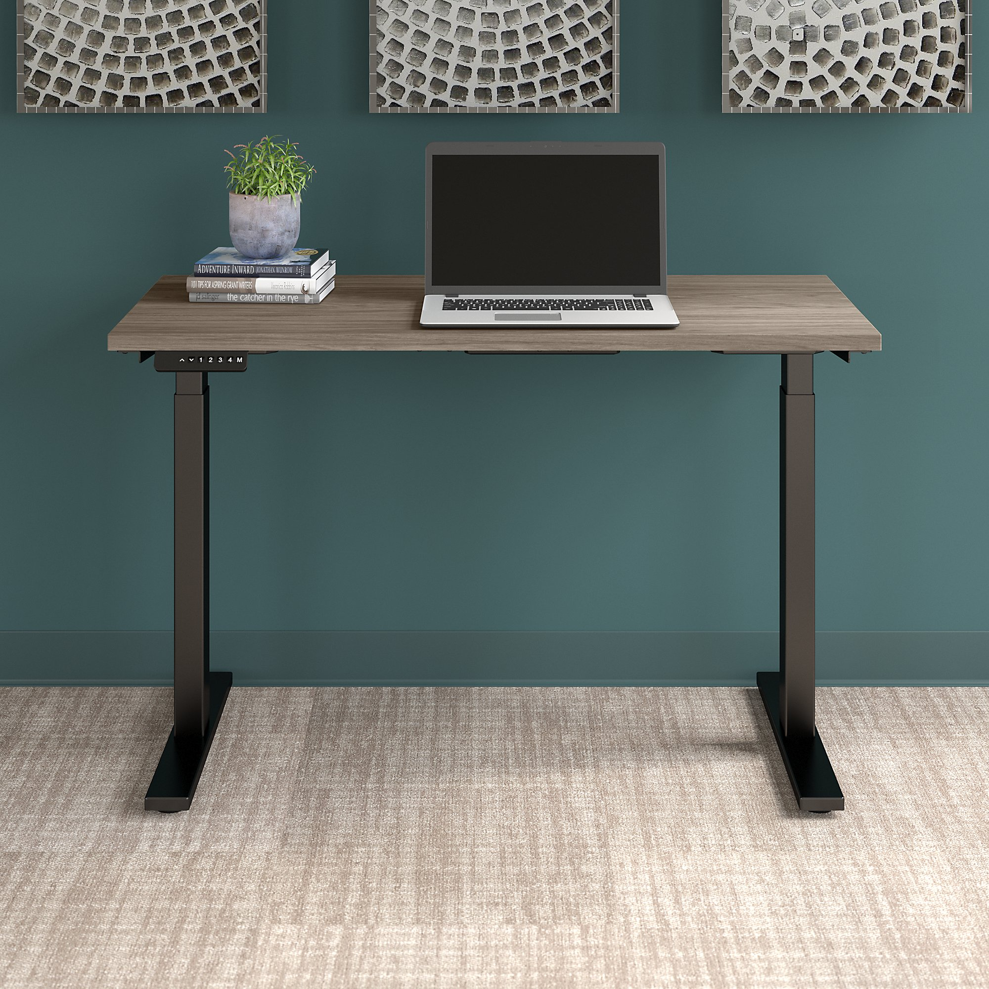 modern hickory move 60 table with black legs