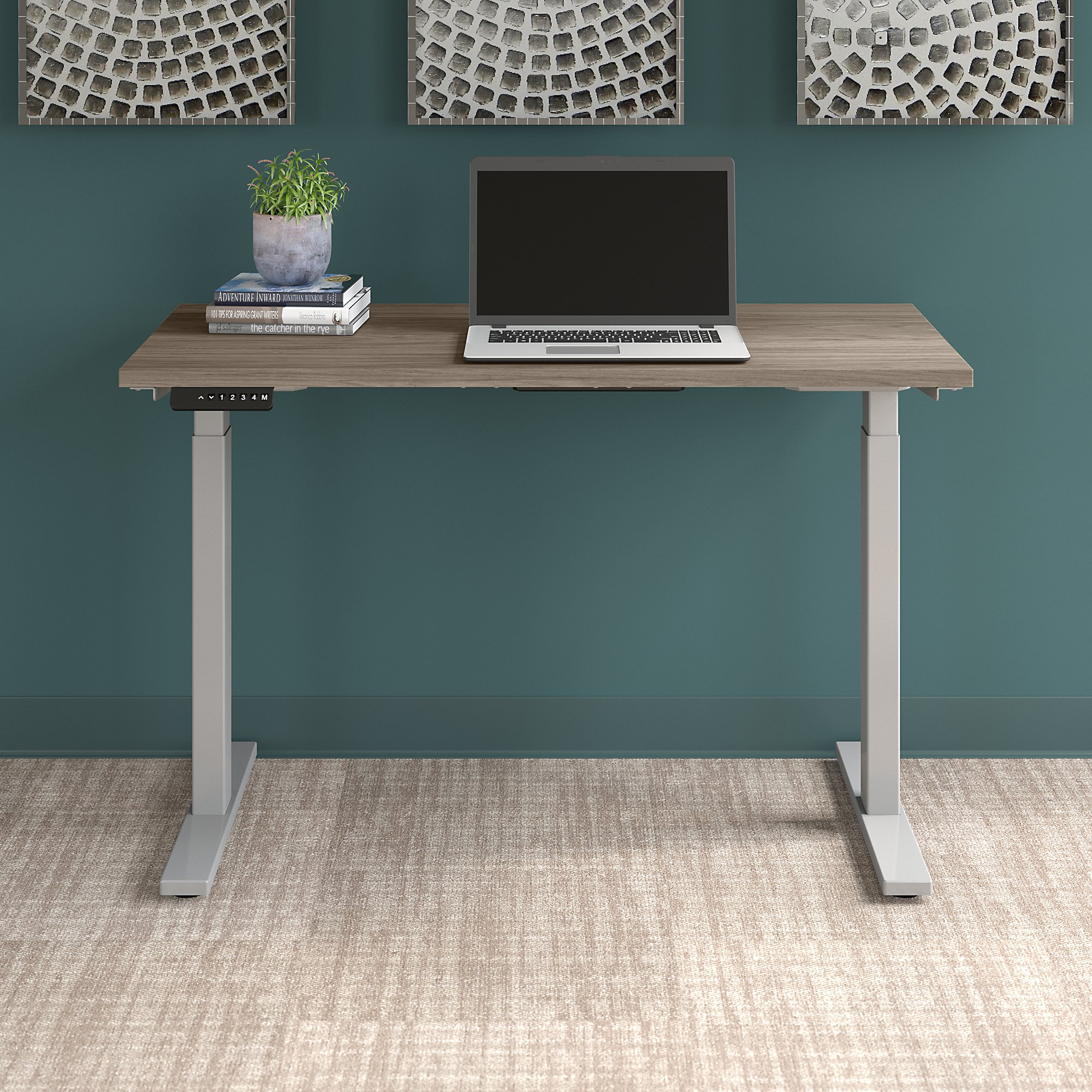 modern hickory move 60 table with silver legs