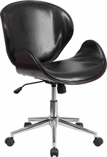 Flash Furniture Black Leather Conference Chair with Mahogany Trim