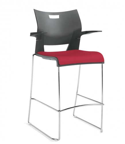 Global Duet Series Upholstered Seat Barstool with Arms 6632