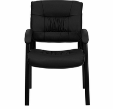 Flash Furniture Black Leather Guest / Reception Chair with Black Frame Finish