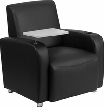 Flash Furniture Black Leather Guest Reception Chair with Tablet Arm and Cup Holder