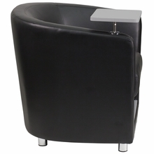 Flash Furniture Black Leather Guest Reception Chair with Tablet Arm and Storage Shelf