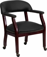Flash Furniture Black Leather Luxurious Conference Chair with Casters
