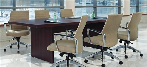 10' Global Total Office Boat Shaped Boardroom Table with Mahogany Finish