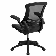 Flash Furniture Black Mesh Office Chair with Leather Seat and Flip Arms