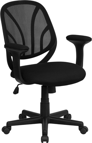 Flash Furniture Black Mid Back Mesh Computer Task Chair with Arms