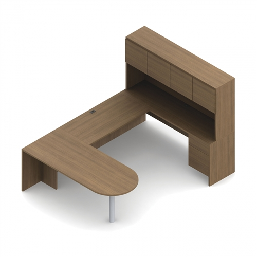 Global Genoa D-Island U Shaped Desk with Hutch GEN503L