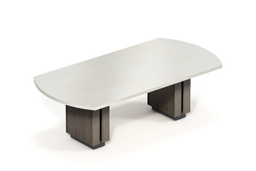 Custom Global Zira Bow End Boardroom Table with Two Tone Finish (Available With Power!)