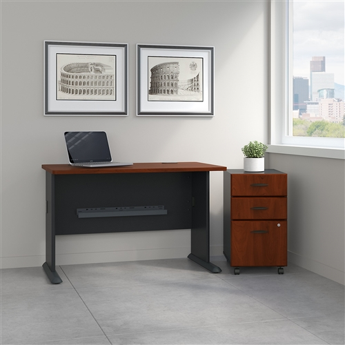 "Bush Series A 48"" Office Desk with Mobile Pedestal SRA025"