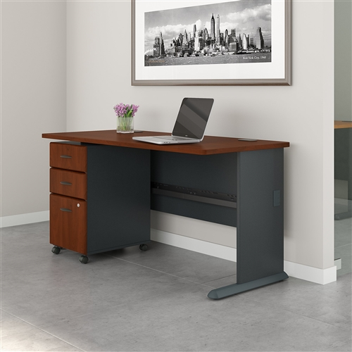 "Bush Series A 60"" Desk with Mobile File Cabinet (7 Finish Combinations!)"