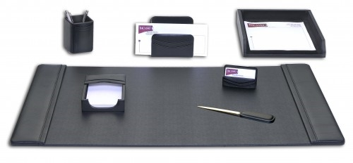 Dacasso 7 Piece Black Leather Desk Set D1004