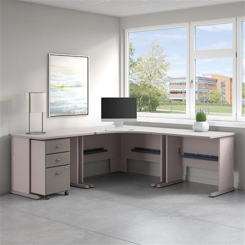 """Bush Series A 84"""" x 84"""" Corner Desk with Mobile File Cabinet SRA041"""