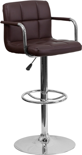Flash Furniture Brown Vinyl Quilted Back Adjustable Bar Stool with Chrome Base